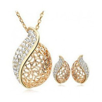 Cheap CS46 Ol hollow love miss you Earrings necklace jewelry sets Classic Wedding Dress for lover B9.5
