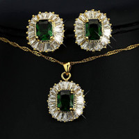 Wholesale Lady Crystal Necklace Earrings Fashion K Gold Plate Gift CZ Diamond Party Women Jewelry Sets Silveren S352