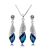 Cheap CS47 Full rhinestone sea style Crystal Earrings necklace jewelry sets Classic Wedding Dress silver gold Y341