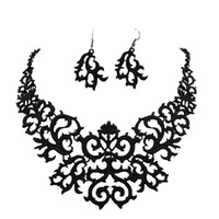 Cheap 15% off Hot Sale Hollow Out Elegant Flower Choker Necklace And Earrings Jewelry Sets For Women Party Dress Spray Paint Alloy