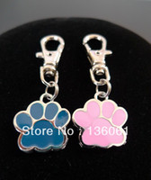 Wholesale Fashion Vintage PINK BLUE ENAMEL DOG CAT PAW PRINT ANIMAL Lobster Swivel Clasp Key Chain Ring P356