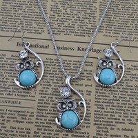 Cheap Vintage jewelry set turquoise owl drop pendant necklace earring women costume dress free 0 S050