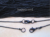 Wholesale pieces mm inch black ball metal necklace chain with Lobster Clasp