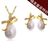 Cheap CS43 Shinning Rhinestone pearls bow Crystal Earrings necklace jewelry sets Classic Wedding Dress silver gold Y690-14