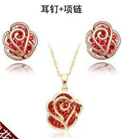 Cheap CS37 Gold romantic rose flower Earrings necklace jewelry sets Classic Wedding Dress for lover Y203