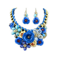 Cheap New statement necklace 2014 design gold chain painted metal crystal necklace luxury jewelry brand set of women's dress