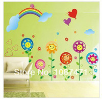 Cheap New arrived Rainbow Sunflower Wall Sticker Wall Mural Home Decor Kids Rooms decorate D022