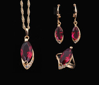 Wholesale 18k yellow gold plated Necklaces amp Pendants Earrings Ring Crystal Sets jewelry Ruby Fashion jewelry Ring sz JS070