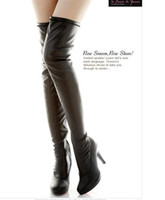 black leather high heel boots - New black leather over the knee high heels boots women sexy slim fit thigh long boots winter cheap boots size to