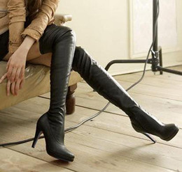 Wholesale New black leather over the knee high heels boots women sexy slim fit thigh long boots winter cheap boots size to