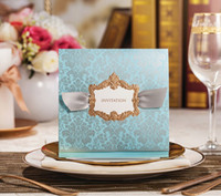 Wholesale new arrival CW051 blue wedding cards Wedding Invitations Personalized Printing any colour