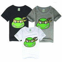 Wholesale Baby T shirts Ninja Turtles Cartoon Cotton Short Sleeve T shirts For Boy Girl Gray White Black