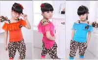 Wholesale children suit leopard shoulder straps T shirt leopard grain haroun pants girl suits NVTONGT001