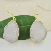 Wholesale Charms Pair Gold Plated Druzy Drusy quartz White Water Drop Earrings Finding