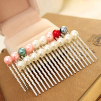 Other Fashion Hairwear Korean pop beautiful handmade jewelry imitation pearl bridal hair comb inserted comb plate wholesale