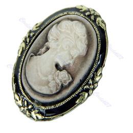 Wholesale MN Vintage Victorian Design Queen Lady Cameo Black Enamel Bronze Brooch Pin