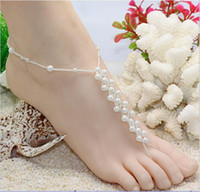 Wholesale barefoot sandals stretch anklet chain with toe ring pair retail for sandbeach wedding MN A