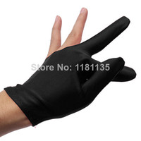 Wholesale Nylon Black Billiards Snooker Cue Shooters Billiard Table Three Finger Left Or Right Hand Gloves