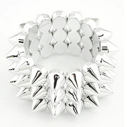 3 Row Blackish Silver Jewelry Stretch Elastic Bangle Bracelet Punk Hedgehog Studs Spike Rivets Wristband Hand Jewelry Unisex women Men