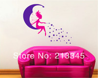baby mall - Saturday Mall Cartoon moon fairy wall stickers baby kids girl room decor decals removable home art