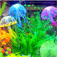 Wholesale Glowing Effect Artificial Aqatic Jellyfish Pet for Aquarium Fish Tank Ornament Swim Pool Bath Decor