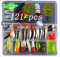 Metal  Baits Spinnerbaits Saltwater 2014 New Fishing Lures kit 121pcs  lot Plastic Fishing Lures Set With Box Fishing Feeder Tackle Sets Hard Lure Soft Bait Set