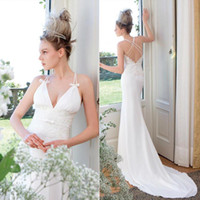 Wholesale Jillian New Summer Fashion Bodycon Lace Sheath Wedding Dresses Stain Deep V Neck Spaghetti Strap Criss Cross Court Train Bridal Gowns