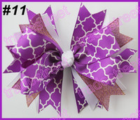 ribbons and bows - newest spike hair bows with chevron ribbon and quatrefoil ribbon hair clip