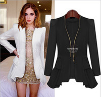 Wholesale 2014 Spring Autumn New Style Women s Small Leisure Suit Jacket Zipper Long Sleeve Solid Thin Coat