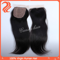 Brazilian Hair Natural Color Straight 6A silk base Free part lace top closure Brazilian virgin hair weave straight 1pc natural color 100% human hair extension remy hair weft