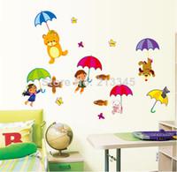 Cheap [Saturday Mall] - early childhood cartoon umbrellas decorate children's room nursery wall mural decals 6705