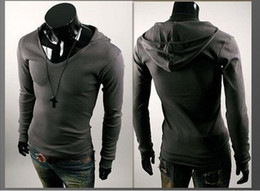 Wholesale Mens Cheap T Shirt Long Sleeve Hoodies Cotton Personalized British style men s hooded long sleeved T shirt Slim Spring Autum wear