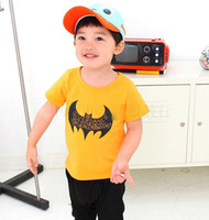 Cheap Summer Fashion Boys Cute Bat Tees Tshirts 100% Cotton Short Sleeeve Shirt Boys Casual Shirts Tops Children's Clothing Outfits 2 Color J0928