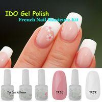 Wholesale French Nail UV Gel ml IDO Gelish Colors Nail Art UV Lamp Glitter Base Top Coat Manicure Tips Soak Off Nail Gel Polish
