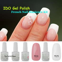 Wholesale French Nail UV Gel ml IDO Gelish Colors Nail Art UV Lamp Glitter Base Top Coat Manicure Tips Soak Off Nail Gel Polish