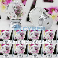 Cheap 8Pcs Lot 30mm Glass Crystal Round Cabinet Knob Drawer Pull Handle Kitchen Door Wardrobe Hardware TK0736