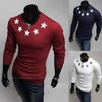 Cheap 2014 men's fashion round neck long-sleeved T-shirt printing pentagram