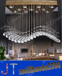 Wholesale Curtain Light Chandelier Crystal - Free Shipping Modern Popular Design Senior Cystal Lights LED GU10 Curtain Wave Crystal Chandeliers Pendant Lamp Droplight Lamps MYY1920