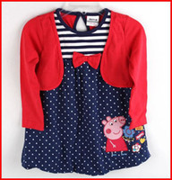 Wholesale 2014 Nova factory direct clothing m y baby girls red dress peppa pig t shirt dress cotton long sleeve polka dot false piece tunic top
