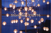 Cheap 14 lights modern clear cast glass sphere ball ''meteor shower''chandelier with polished chrome stainless base (bulbs included)