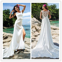 Cheap 2014 Sheath Column Scoop Chapel Train Stretch Satin Wedding Dresses With Removable Train lace ruffle satin sheath beach wedding dresses new