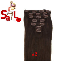 al por mayor extensiones de cabello marrón reales-7 PCS 100% del clip de Remy del pelo humano real en las extensiones 15