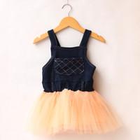 Cheap Children girls denim suspender strap dress veil Korean cotton children dress strap dress new wholesale children's clothing