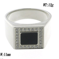 Cheap Zircon stone stainless steel with black glue ring size 9-12