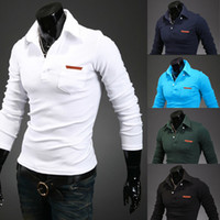 Wholesale 2014 Men s leather standard design personalized lapel pocket sleeved shirt POLO