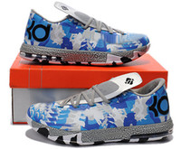 Wholesale New Airman Basketball Shoes Brand KD VI Sneakers Kevin Durant Athletic Boots Ball Training Footwear White Blue Cheap US7 Size BNIB