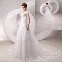 Wholesale Cheap Best Selling V Neck Cap Sleeve Wedding Dresses Ivory A line Lace Appliques Beaded Chapel Train Top Quality Bridal Gowns Real Image