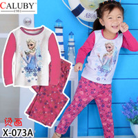 Girl Spring / Autumn Long Wholesale long-sleeved suit Frozen Hot explosion models 2014 children tracksuit suit girl's clothes