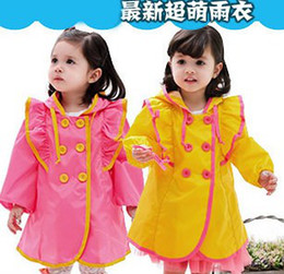 Wholesale Children s Raincoats Kids Girls Rainwear Lovely Cute Double Breasted Ruffed Flouncing Long Sleeve Rain Coat Girl Baby Rainsuit Jacket J0931