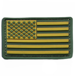 Wholesale Green U S Flag Rubber Patches Military PVC Patch Velcro Patch personality Velcro PVC Chapter Ameican Flag